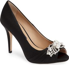 f4329991d4e Nina Ruana Swarovski Peep Toe Pump in Black. Imitation pearls and sparkling  crystals sit at