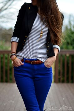 Fine and Feathered: Royal blue skinnies with blazer and riding boots.I feel like I need blue pants. Work Fashion, Fashion Outfits, Womens Fashion, Jeans Fashion, Fashion Ideas, Royal Blue Jeans, Blue Denim, Blue Pants Outfit, Blue Skinnies