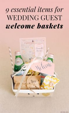Wedding Gifts For Guests Make sure that your out of town guests feel welcome with wedding guest welcome baskets! Here's the essentials to include: Guest Welcome Baskets, Wedding Welcome Baskets, Wedding Gift Baskets, Destination Wedding Welcome Bag, Wedding Gift Bags, Wedding Gifts For Guests, Beach Wedding Favors, Destination Weddings, Ikea Wedding