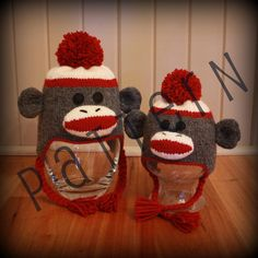 Sock Monkey Hats for the Whole Family pdf by TrappingsandTrinkets, $4.99