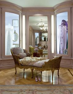 A French chaise in Barbara Streisand's Antique Clothes Shop.