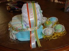 Diaper Bassinet and Washcloth Cupcakes.