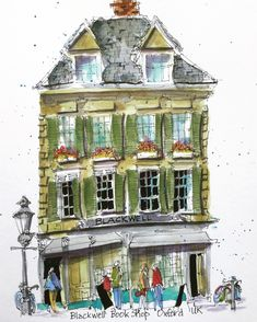 Loose and super fun sketch. One of my favourites. Urban Sketchers, Cool Sketches, Sketching, Watercolour, Oxford, Artwork, Books, Fun, Painting