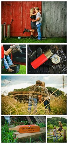 "Country Couple Engagement session   ""The hunt is finally over.""   #whitecreekphotography #hunting #huntingcouples #countrycouples #vintage #countryengagement #engagement #barns"