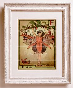 Fairy Flower Alphabet Children Girl Boy Bedroom Baby Nursery Old Picture Bed Room Wall Art Print Home Decor Antique Edwardian F 247