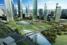 SOM��s Lattice Roofed Tianjin High Speed Rail Station Blends Seamlessly into a Lush Park
