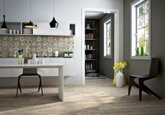 Wood look porcelain tiles in a modern kitchen. Tiles from C&S tile.