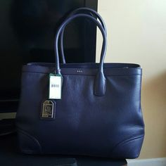 Authentic RL Genuine Leather Navy Blue tote. Brand new never used still has tags on it. Ralph Lauren Bags Totes