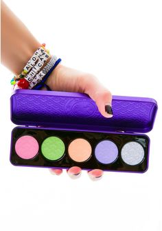 Lime Crime D'Antoinette Pressed Eyeshadow Palette is for pastel princess and beauty queens. This royal 5 shade eyeshadow set is made to make those eyes pop with bright colors, and supreme blendability that won't smudge or fade. You can apply it wet or dry, with any variation of application, so go on bitches, have yer cake, and eat it too.