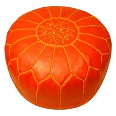 Orange Morrocan pouf...great for reading nook