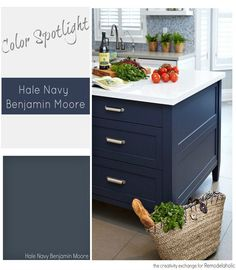 See why Benjamin Moore Hale Navy is a trifecta perfect paint color, to work in almost any space, interior or exterior. See why Benjamin Moore Hale Navy is a trifecta perfect paint color, to work in almost any space, interior or exterior. Kitchen Paint Colors, Painting Kitchen Cabinets, Bathroom Cabinets, Kitchen Redo, Kitchen Remodel, Kitchen Island, Kitchen Ideas, Home Renovation, Hale Navy Benjamin Moore