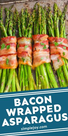 The glaze on this easy oven baked Bacon Wrapped Asparagus is what puts it over the top! Asparagus Plant, Oven Roasted Asparagus, Bacon Wrapped Asparagus, Asparagus Recipe, Roast Beef Recipes, Bacon Recipes, Drink Recipes, Honey Glazed Roasted Carrots, Roasted Bacon