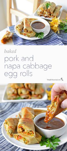 Baked Pork and Napa Cabbage Egg Rolls - Start your new year with some good luck! This lightened up version of a traditional Asian favorite packs a strong punch of nutrition and flavor.