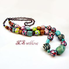 Bohemian polymer clay necklace beaded colorful by MSwithlove