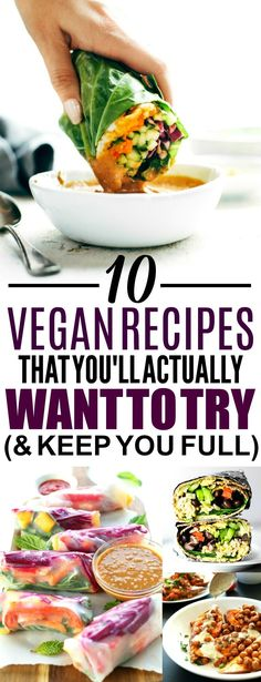 These 10 Vegan Recipes That Fill You Up are THE BEST! I'm so happy I found these AMAZING easy vegan dinner recipes! Now I have some tasty healthy vegan recipes to try! Definitely pinning!