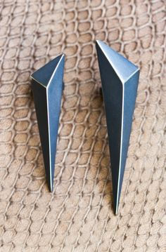 'Mega Shards' blackened sterling silver earrings by, Melanie Clarke
