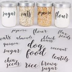 Pantry Labels//Fully CUSTOM Pantry Labels // Jar Labels // Vinyl Decals // Custom Vinyl // Pantry Organization by HouseOfJars on Etsy https://www.etsy.com/au/listing/237462518/pantry-labelsfully-custom-pantry-labels