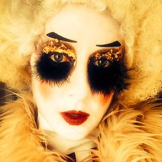 Baroque, circus, clown, vintage, lucent dossier inspired, makeup gold leaf, feathered lashes