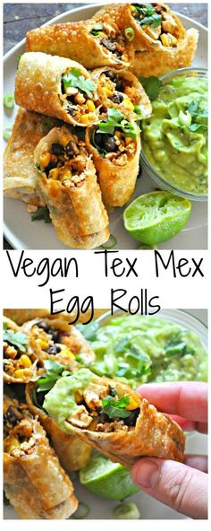 Healthy Recipes Vegan Tex Mex Egg Rolls - Rabbit and Wolves - Vegan egg rolls filled with taco tofu, black beans, corn and cilantro. With an avocado buttermilk ranch dip! Tasty Vegetarian Recipes, Vegan Dinner Recipes, Veggie Recipes, Mexican Food Recipes, Whole Food Recipes, Cooking Recipes, Vegan Vegetarian, Diet Recipes, Vegetarian Italian