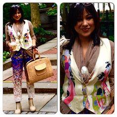 Spring fling with the #geishas!  #vintageasianvest #japanesewoodblock #vintagejapanesesilk #waistcoat over no button tunic with shell #scarfring #vintagewickerbag #japanesewickerbag #leifsdottir #silkabstractfloral pants #silkfloralpants #burlapshoes / #canvasoxfords