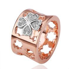 Crystal Clover Hollow-out Rosegold Ring 35130
