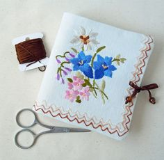 Needle Book, Handmade. Vintage Tea Tray Cloth, Embroidered Flowers