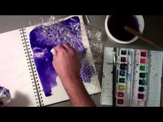 technique demonstration of lifting watercolor once painted on with plastic wrap, bubble wrap, paper towel, cotton ball, natural sponge, and cotton swab