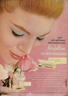 vintage Maybelline ad ... i used to wear blue eye shadow all the time back in the late 60s-early 70s!