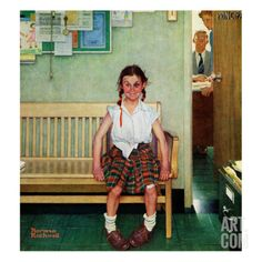 """Shiner"" or ""Outside the Principal's Office"", May 23,1953 Giclee Print by Norman Rockwell at Art.com"