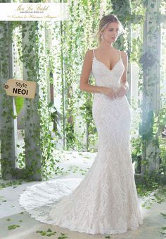 Morilee madeline gardner phaedra style 1724 allover crystal beaded embroidery and straps on a slim soft net gown with sheer train and scalloped hemline colors available ivory ivory crem Wedding Dress Empire, Wedding Dresses With Straps, Fit And Flare Wedding Dress, Bridal Wedding Dresses, Wedding Dress Styles, Dream Wedding Dresses, Bridesmaid Dresses, Wedding Dresses Fit And Flare, Sheath Wedding Dresses