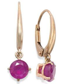 10k Rose Gold Earrings, Ruby Leverback Drop Earrings (1-1/5 ct. t.w.)  | macys.com