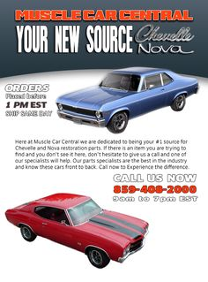 Muscle Car Central Nova and Chevelle Parts