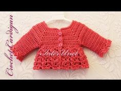 Jacket cardigan for a baby girl - YouTube