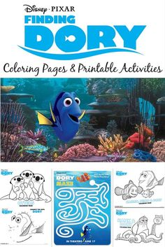 Finding Dory coloring pages, mazes, dot-to-dot puzzles, and printable activities to pass the time until the Pixar movie comes out this summer! Perfect for party planning, or just for kids and families to enjoy together!