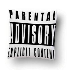 Vintage Parental Advisory Explicit Content Pillow Cover #Housewares #Pillow #Cotton #Pillowcase #Covers #PillowCases #HomeDecor #DecorativePillow #CouchPillowCover #Hot #Case #cover #women #Men #Child