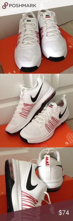 Mens Nike Air Max Effort TR Excellent training shoes. They are brand new and never worn. Color is white with black and red trim. I have it available in Mens 10 and 11. Nike Shoes Athletic Shoes