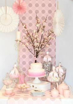 Pink candy buffet.