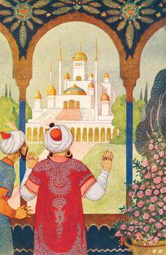 Seuraava kuva >> Make Pictures, Arabian Nights, Children's Book Illustration, Grimm, Aladdin, Vintage Children, Vintage Prints, Childrens Books, Illustrators