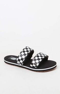 a70755c3370b These slide sandals feature faux leather hook-and-loop straps with a  checkerboard print and tread sole.
