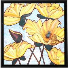 Herb Dickinson Golden Blooms Floater-Framed Gallery-Wrapped Canvas, Size: 14 x 14, White