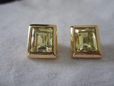 Signed S.A.L SWAROVSKI Large Peridot Crystal Pierced Earrings Gold Tone #SWAROVSKI