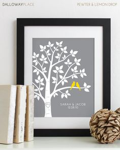 Wedding Gift for Couples Gift for Her Him, Personalized Anniversary Gift Engagement Newlywed Love Birds Wedding Family Tree Art Print - 8x10 via Etsy