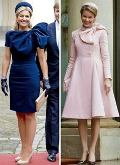 royalroaster:  Jan Taminau pillbox and bow dress-Queen Maxima and Queen Mathilde