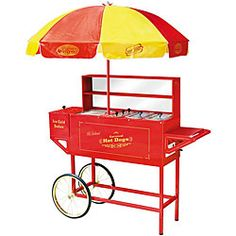 @Overstock - Bring the charm of the past into the present with an old-fashioned hot dog cartSpecialty appliance by Nostalgia Electrics features a colorful umbrella in the style of days gone byHot dog cart has a place to store condimentshttp://www.overstock.com/Home-Garden/Nostalgia-Electrics-Vintage-Carnival-Hot-Dog-Cart/3205005/product.html?CID=214117 $403.99