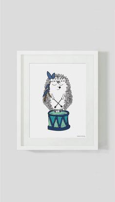 Baby nursery art Mr Prickles hedgehog and his by ByBrokenTricycle
