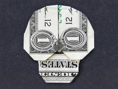 SKULL Money Origami Art Dollar Bill Cash Sculptors Bank Note Handmade - The little thins - Event planning, Personal celebration, Hosting occasions Dollar Bill Origami, Money Origami, Origami Paper, Dollar Bills, Fold Dollar Bill, Fun Origami, Dollar Money, Origami Boxes, Origami Bookmark