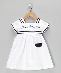 White & Navy Shell Square Neck Dress - Infant & Toddler
