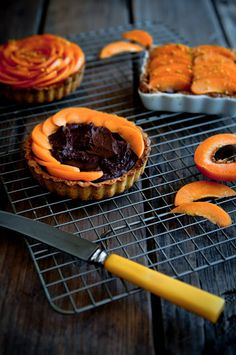 Apricot Pistachio Chocolate Mousse Tartlets... the strategy of making individual portion? www.dessertsforbr...