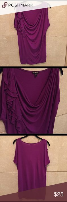 Express purple blouse in size small Gorgeous purple Express blouse in size small. Drape neck with ruffle detail. Excellent condition. Express Tops Blouses