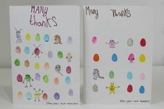 Do your kids send thank you cards? The MiniMad's send thank you cards their have made every year. Last year it was thumbprint Robin thank you cards, this year it is fingerprint monster thank you cards. We love giving fingerprint monster cards as they encourage people to get creative and add thei…